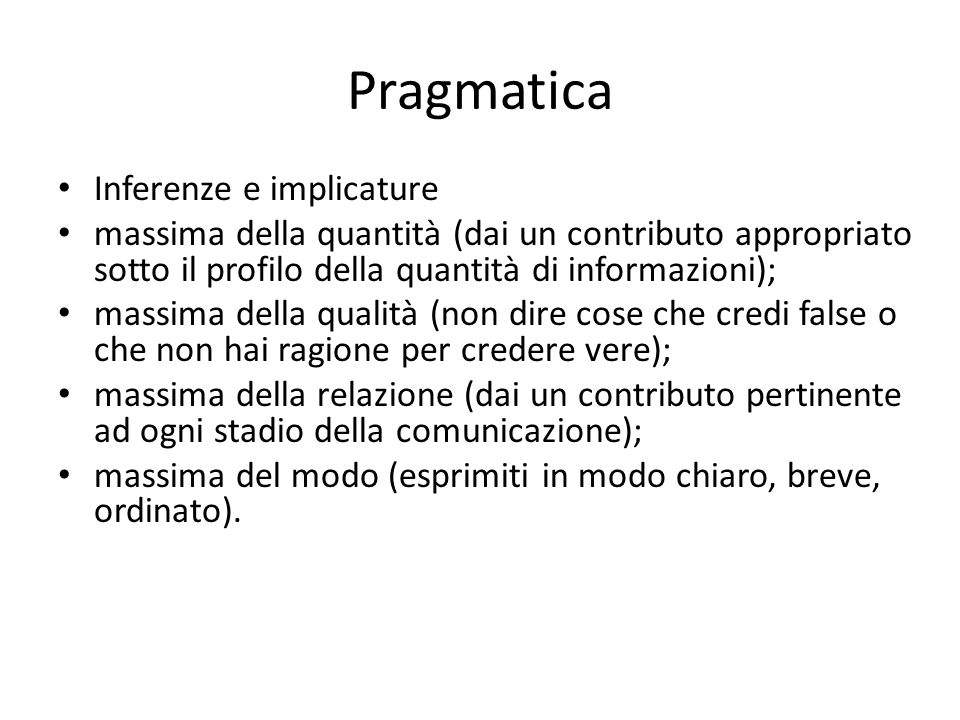 Pragmatica Inferenze e implicature