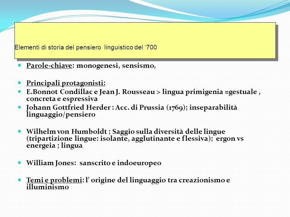 Elementi di storia del pensiero linguistico del '700