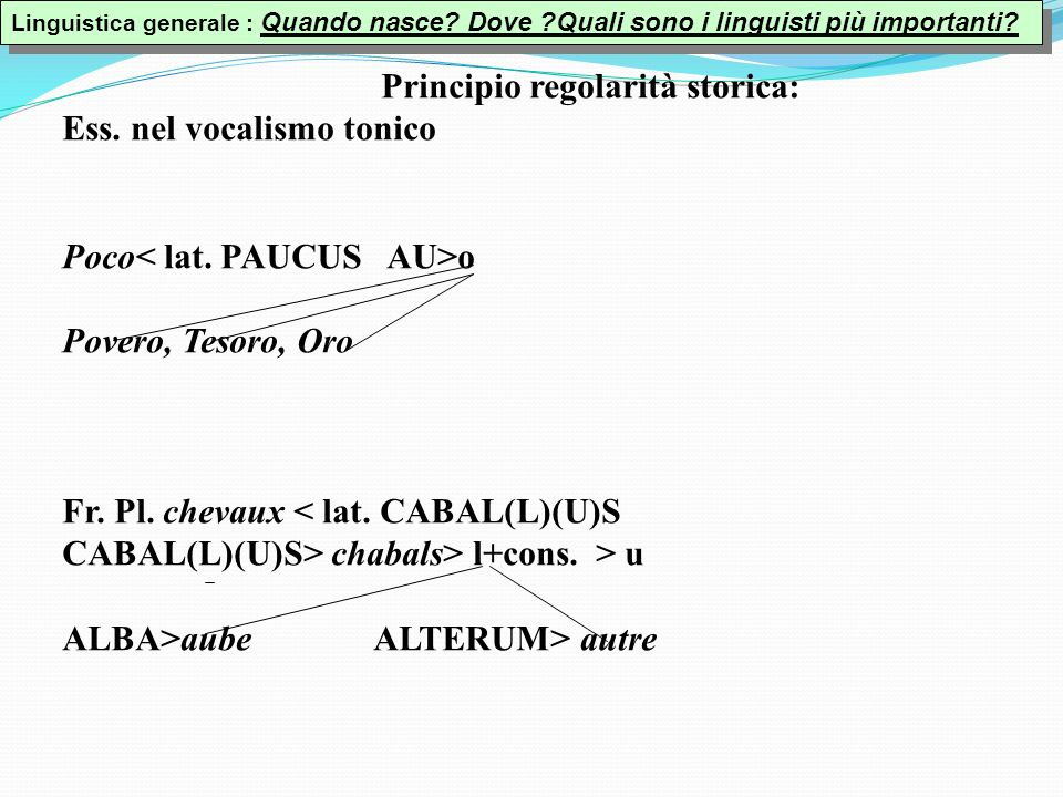 Principio regolarità storica: Ess. nel vocalismo tonico