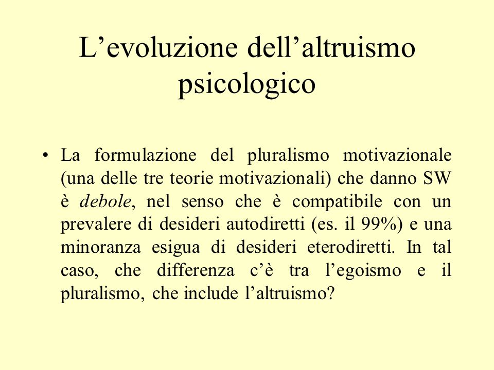 L'evoluzione dell'altruismo psicologico