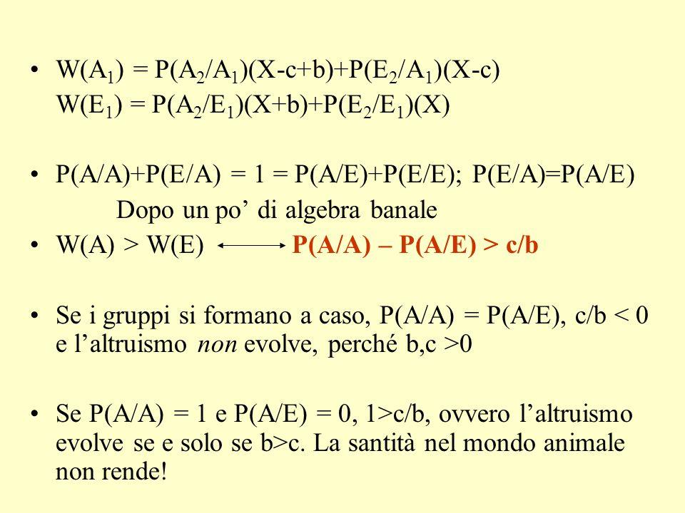 W(A1) = P(A2/A1)(X-c+b)+P(E2/A1)(X-c)