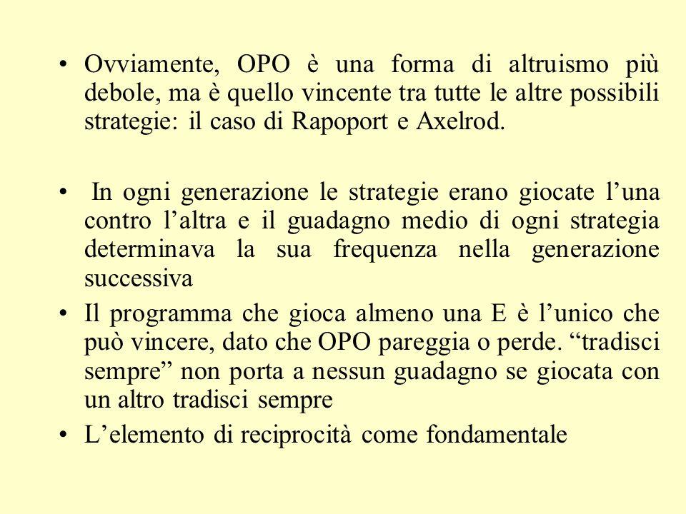 Ovviamente, OPO è una forma di altruismo più debole, ma è quello vincente tra tutte le altre possibili strategie: il caso di Rapoport e Axelrod.