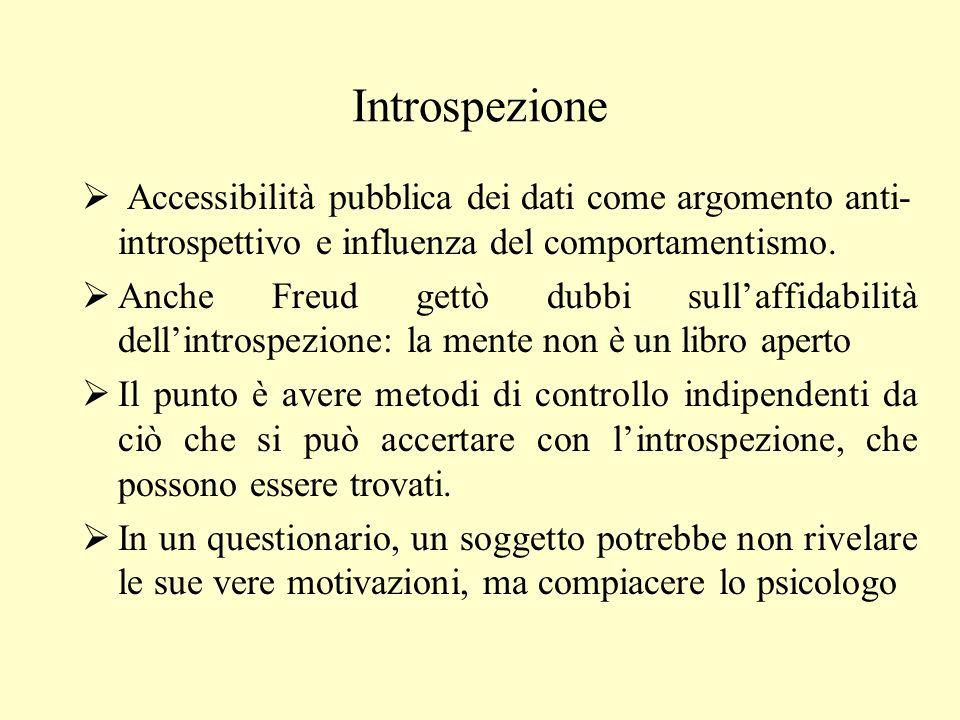 Introspezione Accessibilità pubblica dei dati come argomento anti-introspettivo e influenza del comportamentismo.