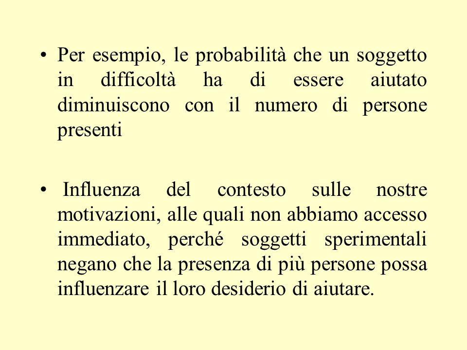 Per esempio, le probabilità che un soggetto in difficoltà ha di essere aiutato diminuiscono con il numero di persone presenti