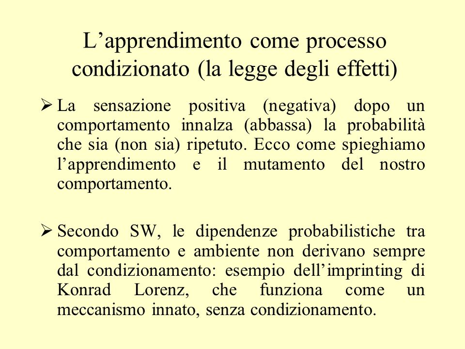 L'apprendimento come processo condizionato (la legge degli effetti)