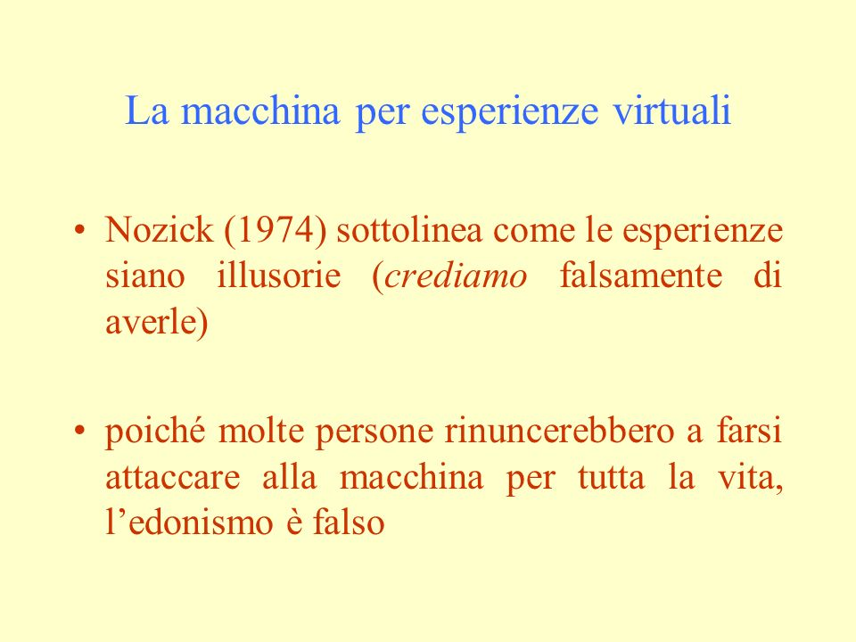 La macchina per esperienze virtuali