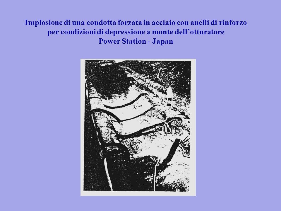 Implosione di una condotta forzata in acciaio con anelli di rinforzo per condizioni di depressione a monte dell'otturatore Power Station - Japan