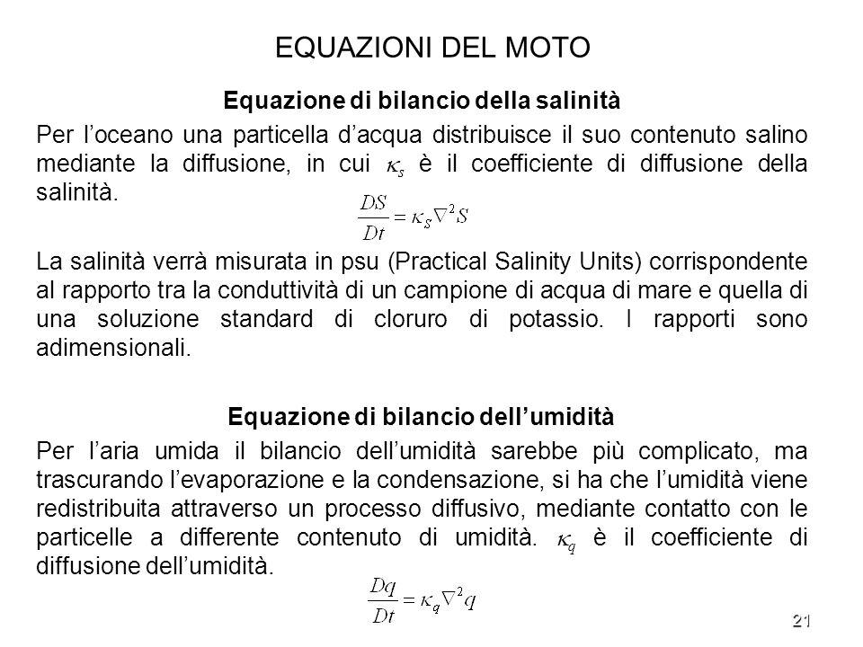 Equazione di bilancio della salinità