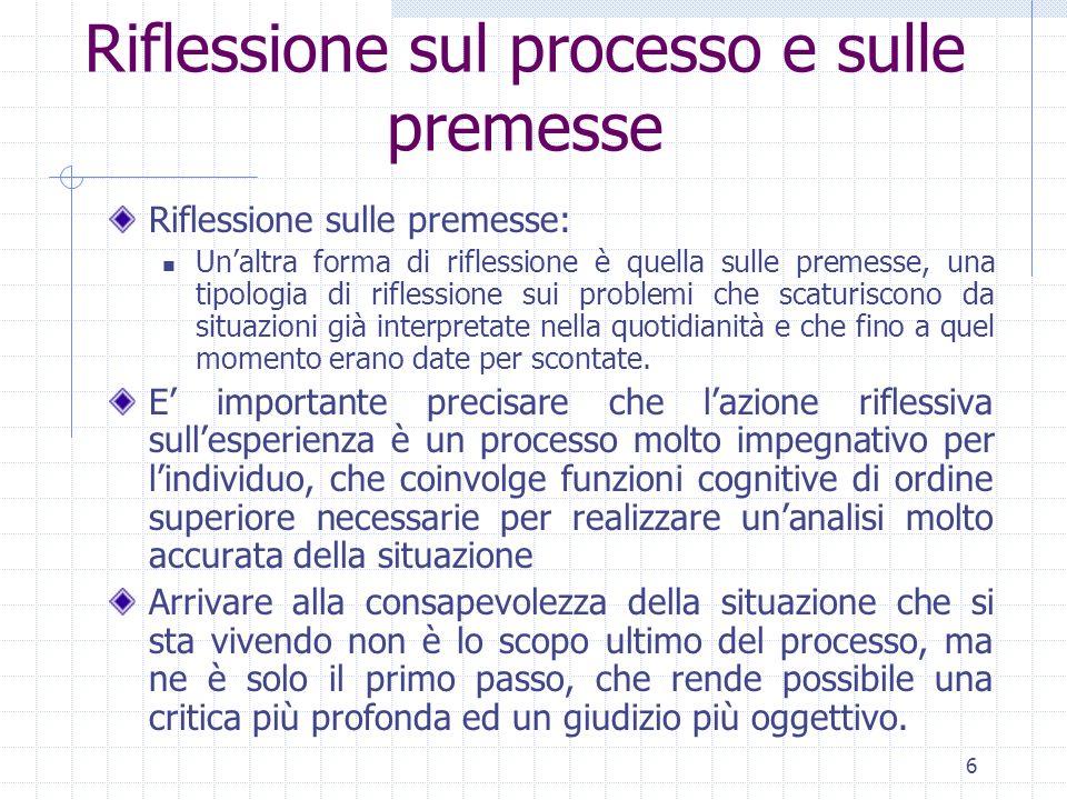Riflessione sul processo e sulle premesse