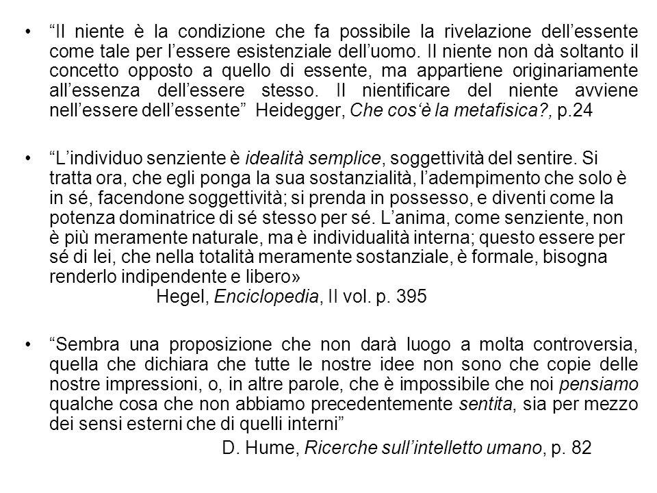 Il niente è la condizione che fa possibile la rivelazione dell'essente come tale per l'essere esistenziale dell'uomo. Il niente non dà soltanto il concetto opposto a quello di essente, ma appartiene originariamente all'essenza dell'essere stesso. Il nientificare del niente avviene nell'essere dell'essente Heidegger, Che cos'è la metafisica , p.24