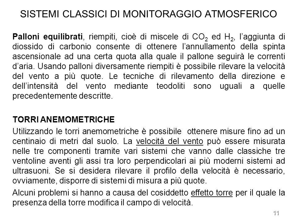 SISTEMI CLASSICI DI MONITORAGGIO ATMOSFERICO