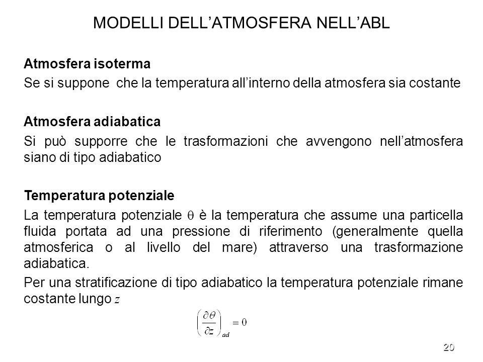 MODELLI DELL'ATMOSFERA NELL'ABL