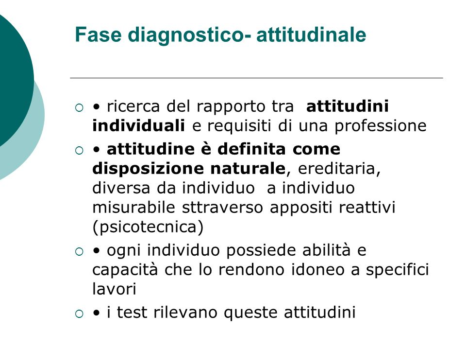Fase diagnostico- attitudinale