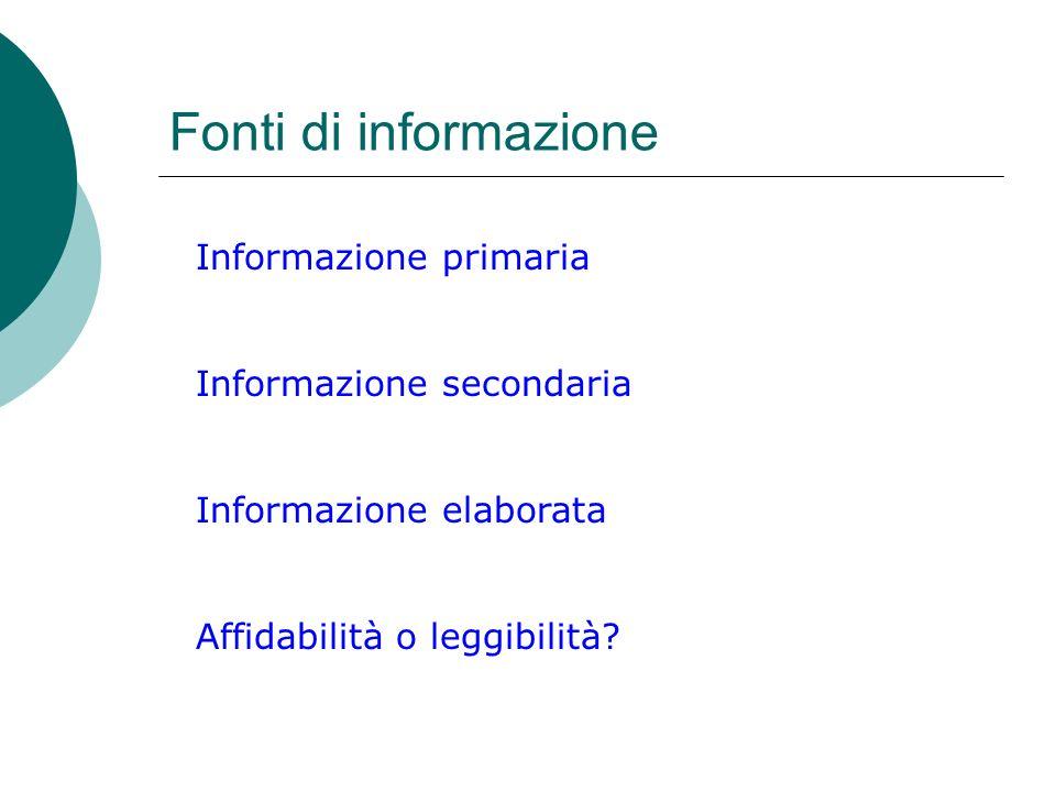 Fonti di informazione Informazione primaria Informazione secondaria