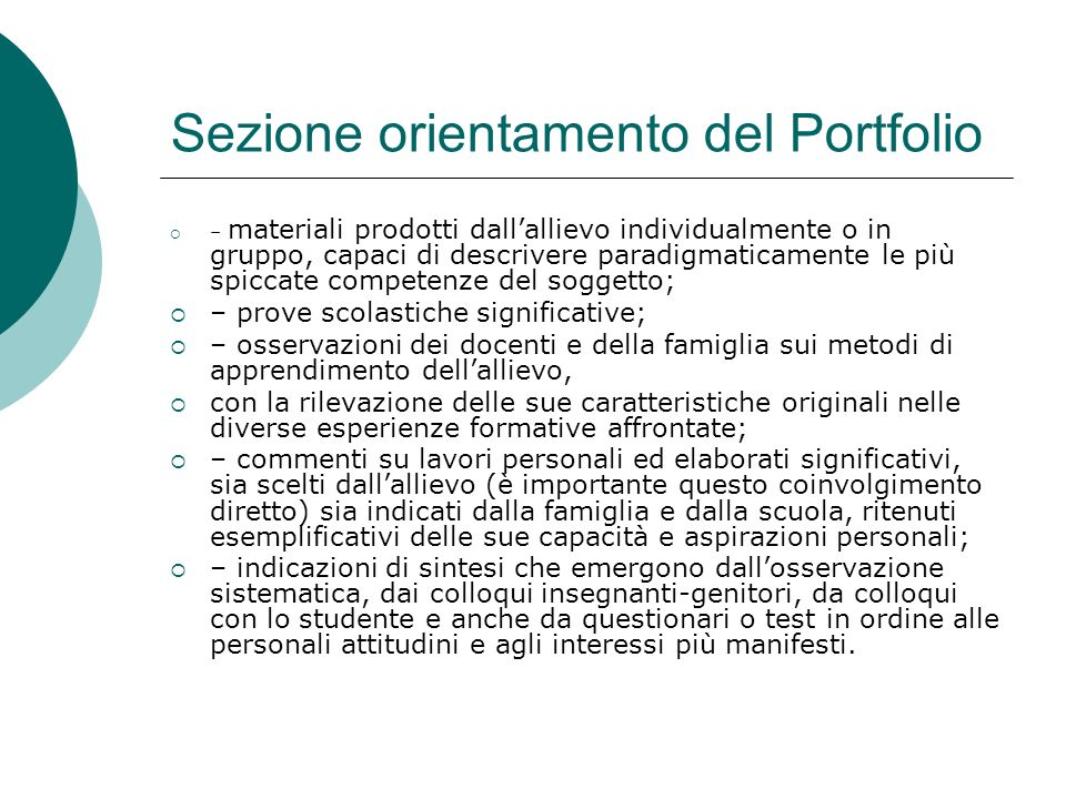 Sezione orientamento del Portfolio