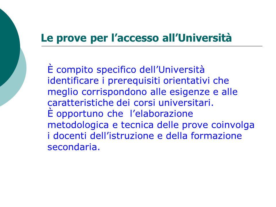 Le prove per l'accesso all'Università