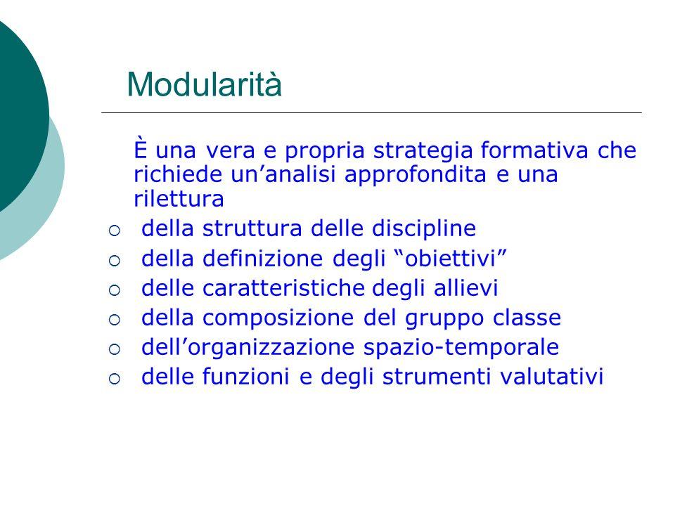 Modularità È una vera e propria strategia formativa che richiede un'analisi approfondita e una rilettura.