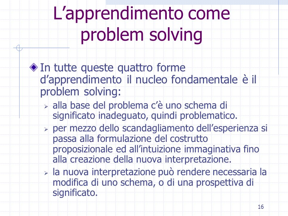 L'apprendimento come problem solving