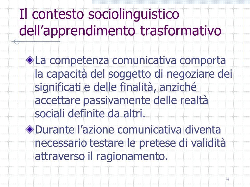 Il contesto sociolinguistico dell'apprendimento trasformativo