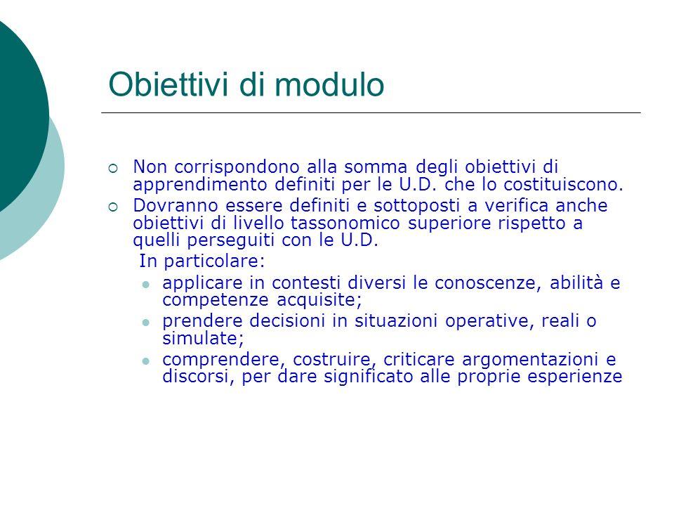 Obiettivi di modulo Non corrispondono alla somma degli obiettivi di apprendimento definiti per le U.D. che lo costituiscono.