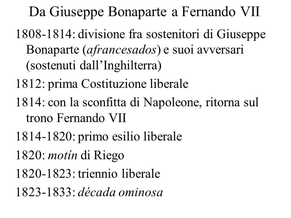 Da Giuseppe Bonaparte a Fernando VII