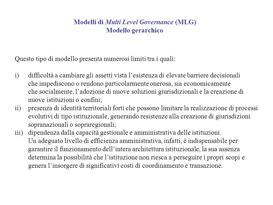Modelli di Multi Level Governance (MLG)