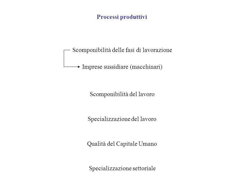 Processi produttivi Scomponibilità delle fasi di lavorazione. Imprese sussidiare (macchinari) Scomponibilità del lavoro.