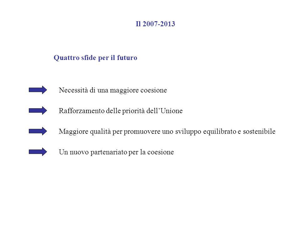 Il 2007-2013 Quattro sfide per il futuro. Necessità di una maggiore coesione. Rafforzamento delle priorità dell'Unione.
