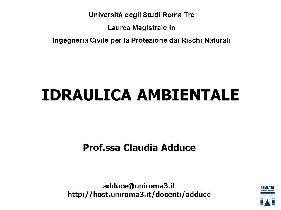 IDRAULICA AMBIENTALE Prof.ssa Claudia Adduce