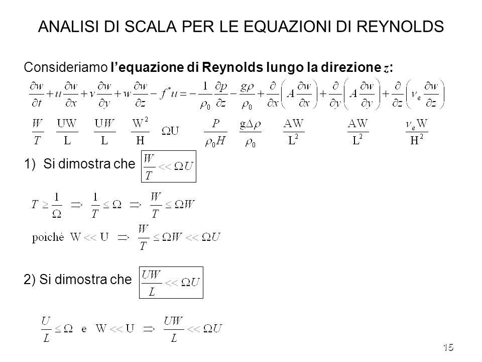 ANALISI DI SCALA PER LE EQUAZIONI DI REYNOLDS