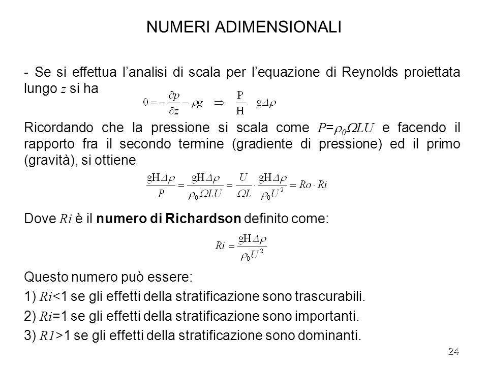 NUMERI ADIMENSIONALI - Se si effettua l'analisi di scala per l'equazione di Reynolds proiettata lungo z si ha.