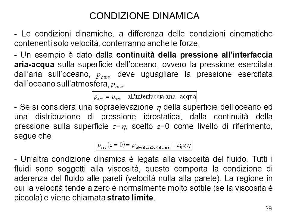 CONDIZIONE DINAMICA - Le condizioni dinamiche, a differenza delle condizioni cinematiche contenenti solo velocità, conterranno anche le forze.