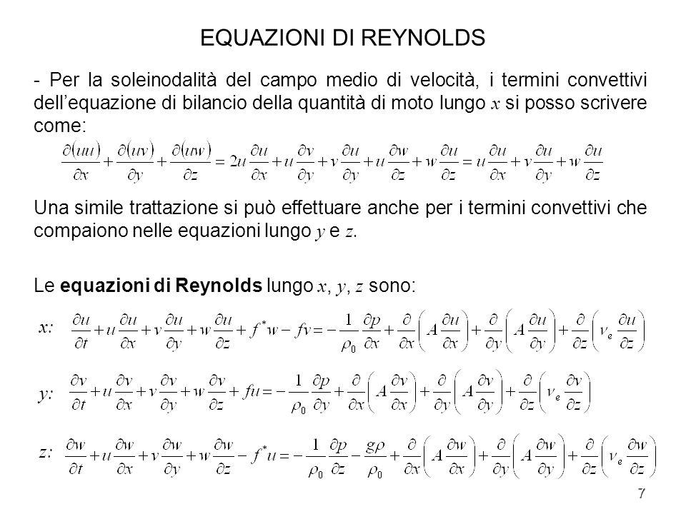 EQUAZIONI DI REYNOLDS