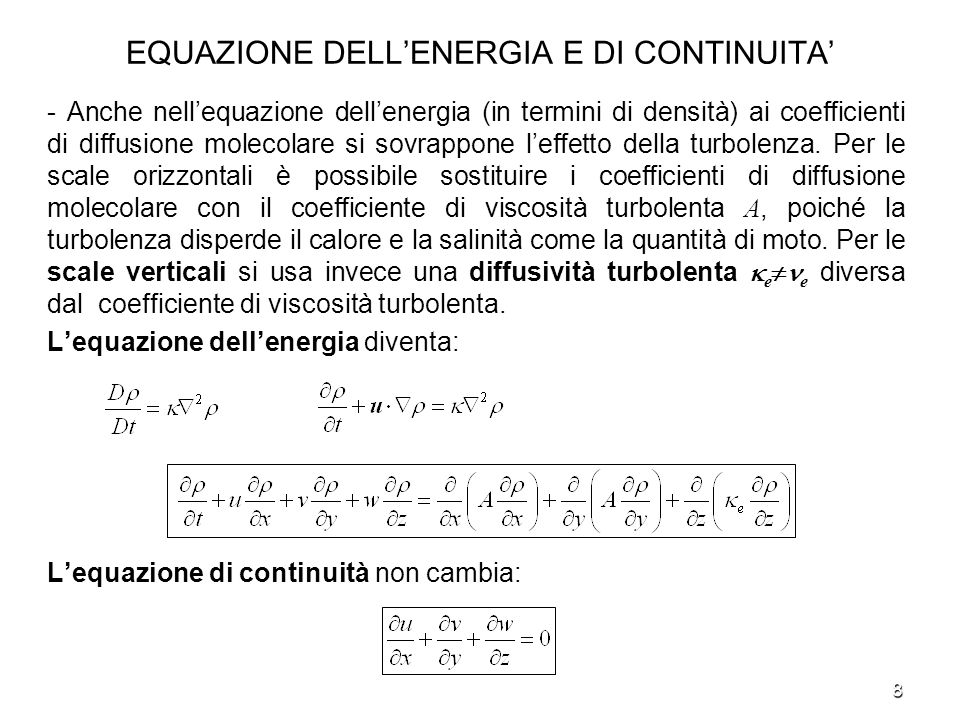 EQUAZIONE DELL'ENERGIA E DI CONTINUITA'