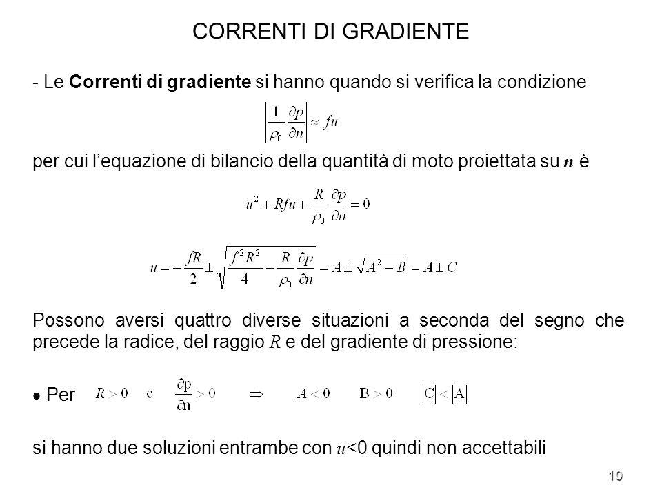 CORRENTI DI GRADIENTE - Le Correnti di gradiente si hanno quando si verifica la condizione.