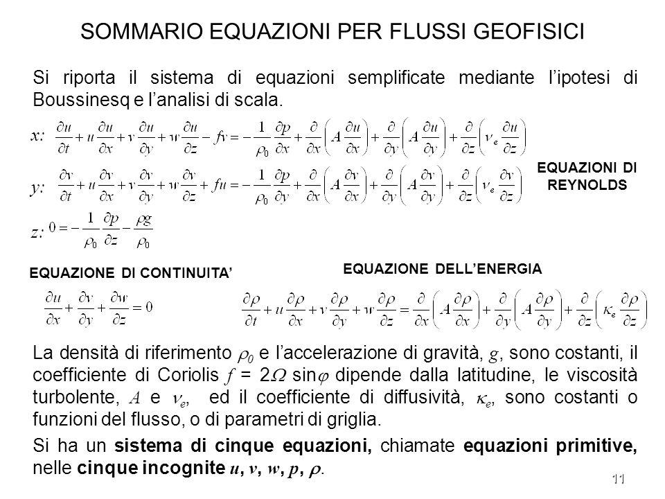 SOMMARIO EQUAZIONI PER FLUSSI GEOFISICI