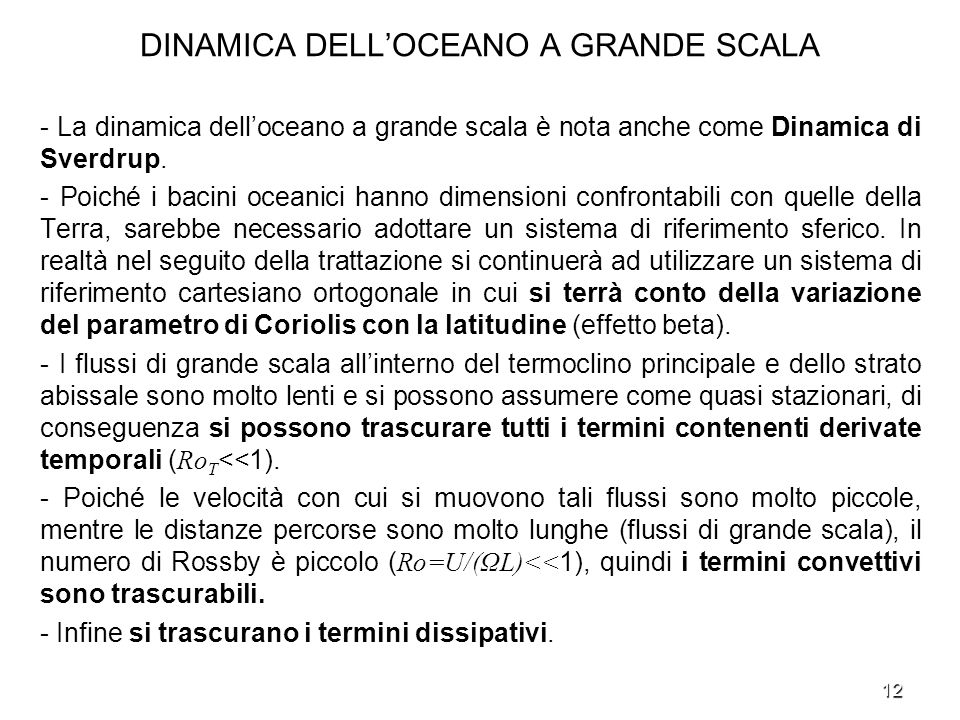 DINAMICA DELL'OCEANO A GRANDE SCALA