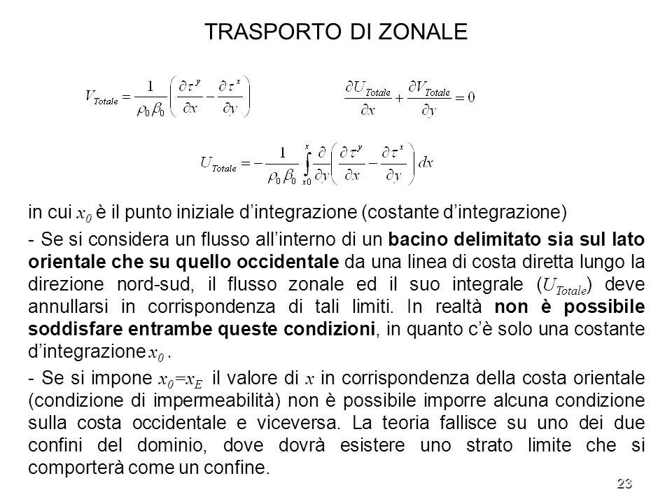 TRASPORTO DI ZONALE in cui x0 è il punto iniziale d'integrazione (costante d'integrazione)