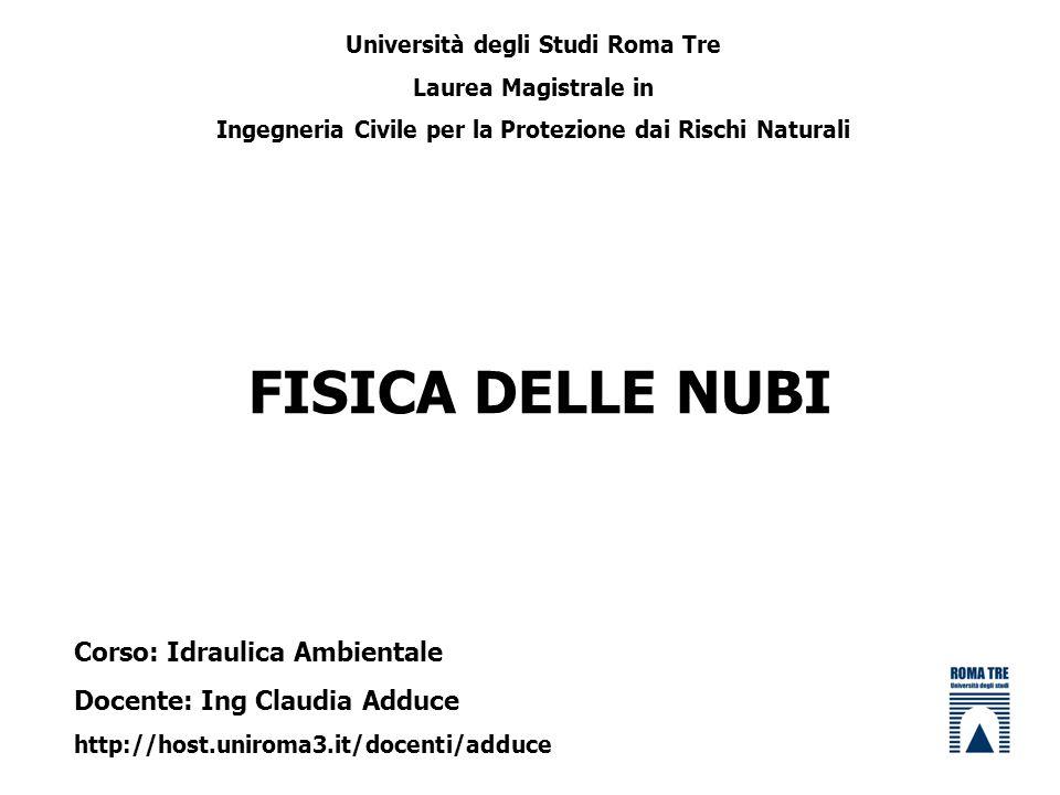 FISICA DELLE NUBI Corso: Idraulica Ambientale