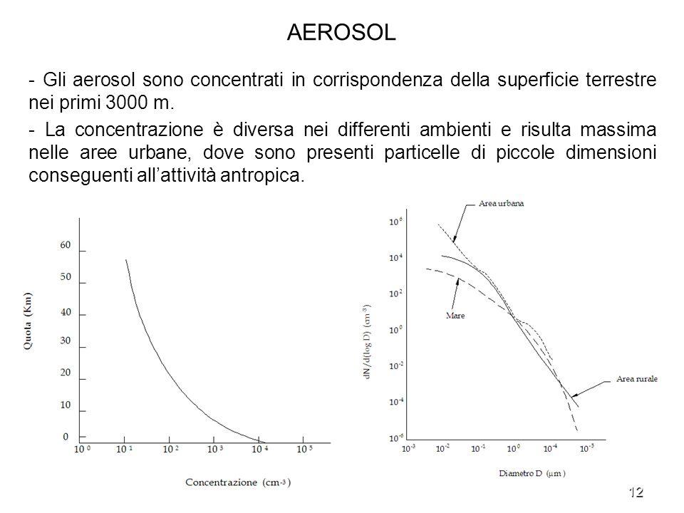 AEROSOL - Gli aerosol sono concentrati in corrispondenza della superficie terrestre nei primi 3000 m.