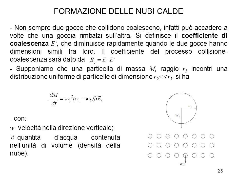 FORMAZIONE DELLE NUBI CALDE