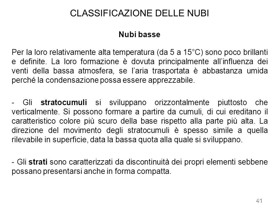 CLASSIFICAZIONE DELLE NUBI