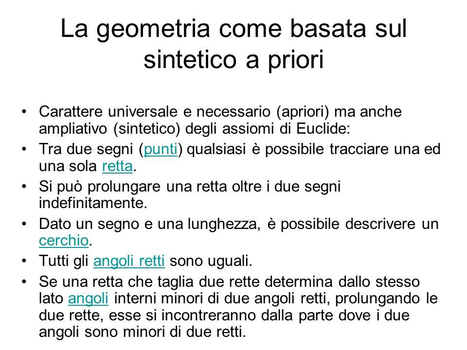 La geometria come basata sul sintetico a priori