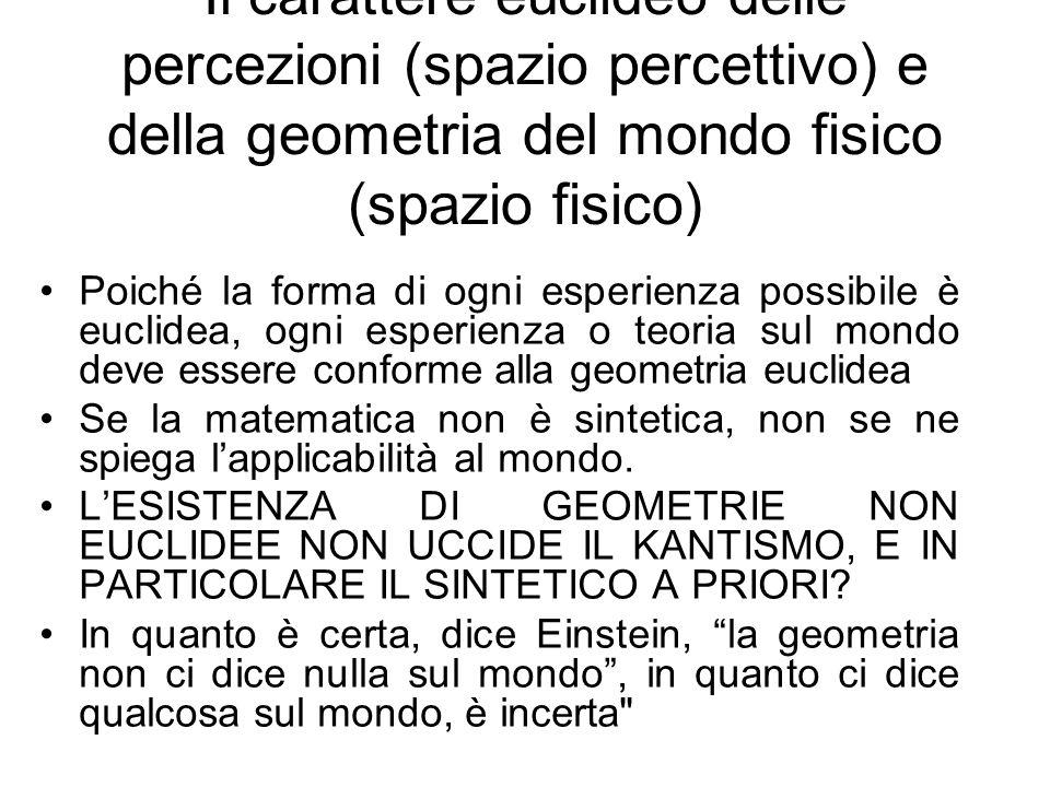 Il carattere euclideo delle percezioni (spazio percettivo) e della geometria del mondo fisico (spazio fisico)