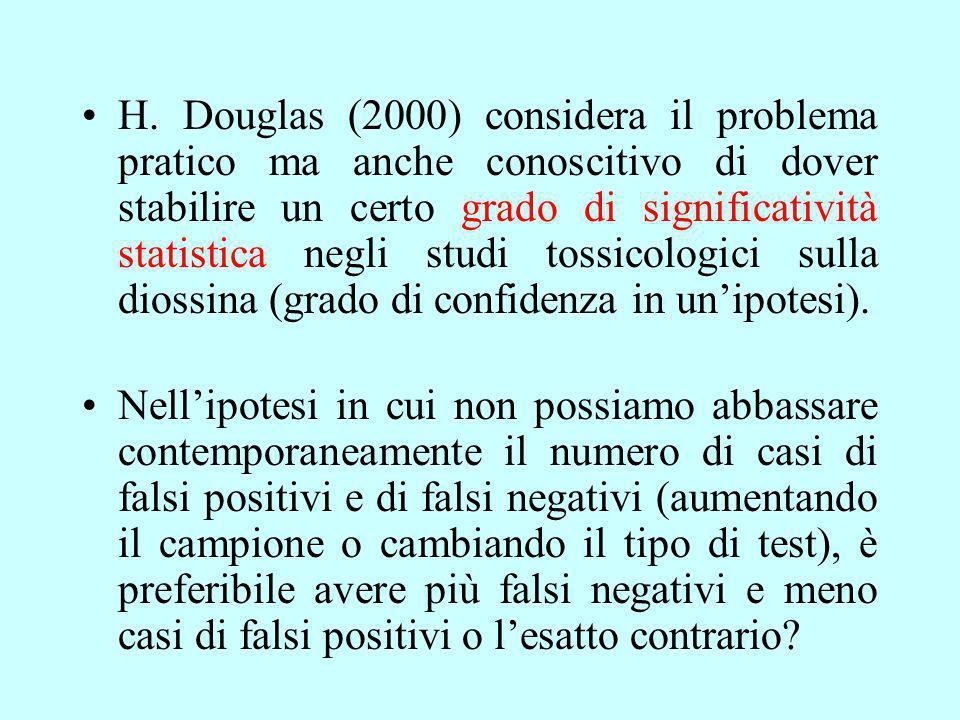 H. Douglas (2000) considera il problema pratico ma anche conoscitivo di dover stabilire un certo grado di significatività statistica negli studi tossicologici sulla diossina (grado di confidenza in un'ipotesi).
