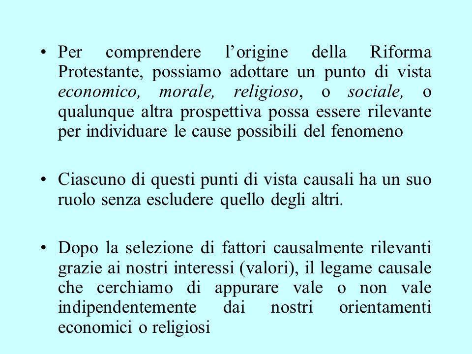 Per comprendere l'origine della Riforma Protestante, possiamo adottare un punto di vista economico, morale, religioso, o sociale, o qualunque altra prospettiva possa essere rilevante per individuare le cause possibili del fenomeno
