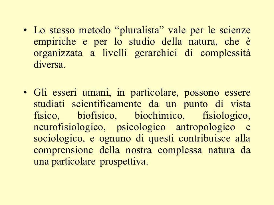 Lo stesso metodo pluralista vale per le scienze empiriche e per lo studio della natura, che è organizzata a livelli gerarchici di complessità diversa.