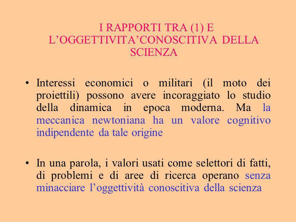 I RAPPORTI TRA (1) E L'OGGETTIVITA'CONOSCITIVA DELLA SCIENZA