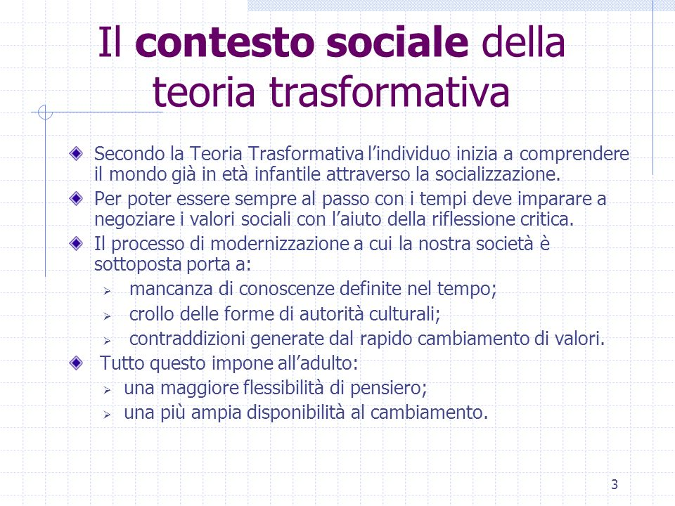 Il contesto sociale della teoria trasformativa