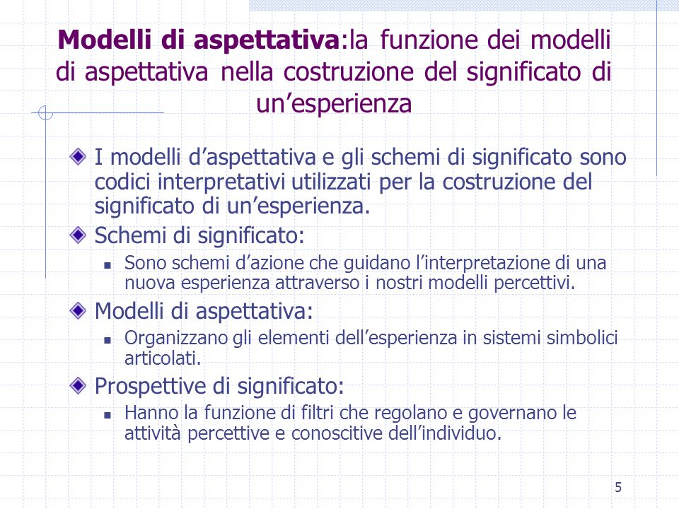 Modelli di aspettativa:la funzione dei modelli di aspettativa nella costruzione del significato di un'esperienza